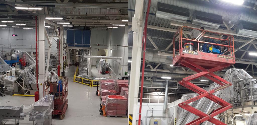 Чистка пылевой вентиляции на заводе